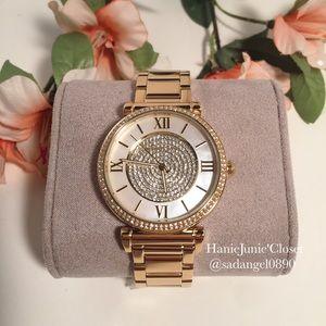 Michael Kors Catlin Motherof Pearl Dial Gold Watch